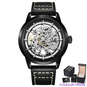 PAGANI DESIGN Watches Mens Luxury - Montre Mécanique Etanche Bracelet Cuir - black black