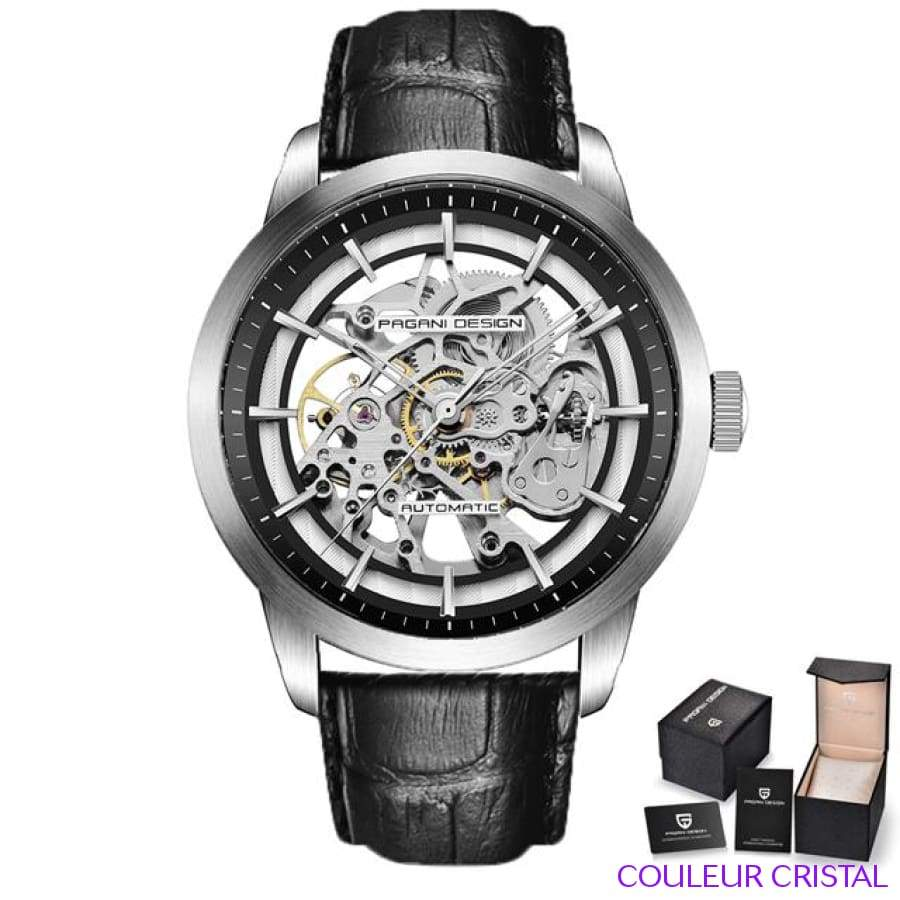 PAGANI DESIGN Watches Mens Luxury - Montre Mécanique Etanche Bracelet Cuir - black white
