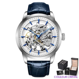 PAGANI DESIGN Watches Mens Luxury - Montre Mécanique Etanche Bracelet Cuir - blue white