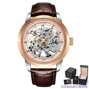 PAGANI DESIGN Watches Mens Luxury - Montre Mécanique Etanche Bracelet Cuir - brown gold