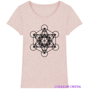 T-Shirt Femme Cube de Metatron - Cream Heather Pink / XS