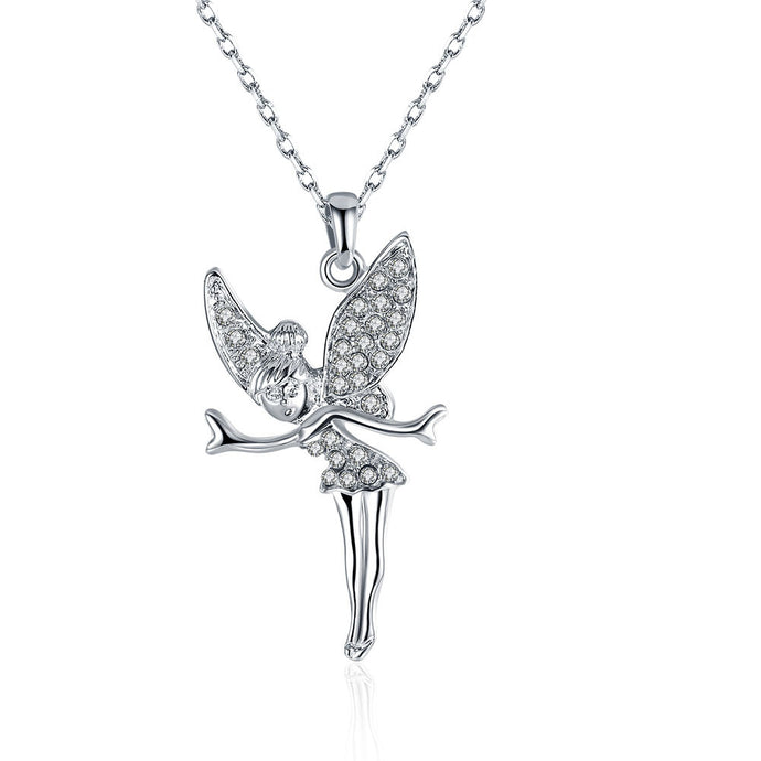 White Gold Plated Flying Fairy Necklace - Aeromancy