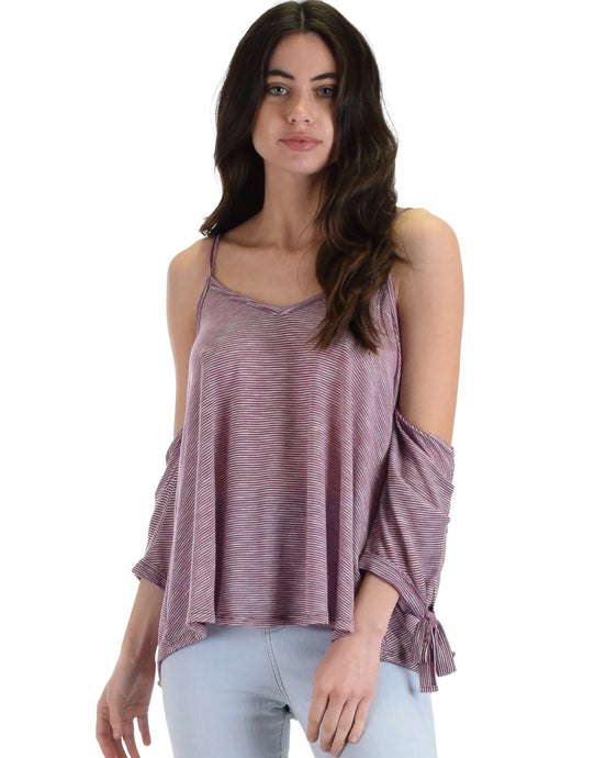 Song Of Love Cold Shoulder Burgundy Striped Top - Aeromancy