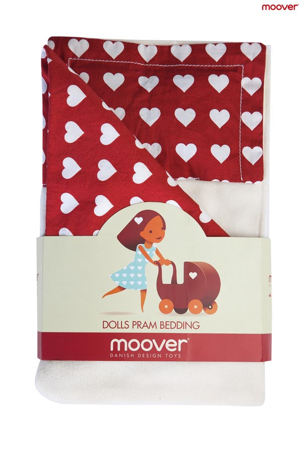 Dolls Stroller (Pram) Bedding Set - Red