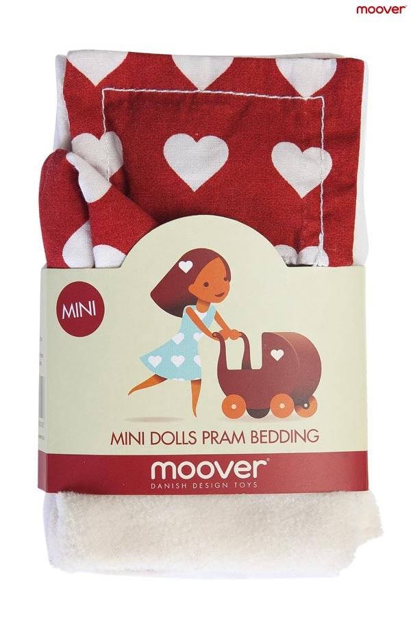 Miniature Dolls Stroller (Pram) Bedding Set - Red
