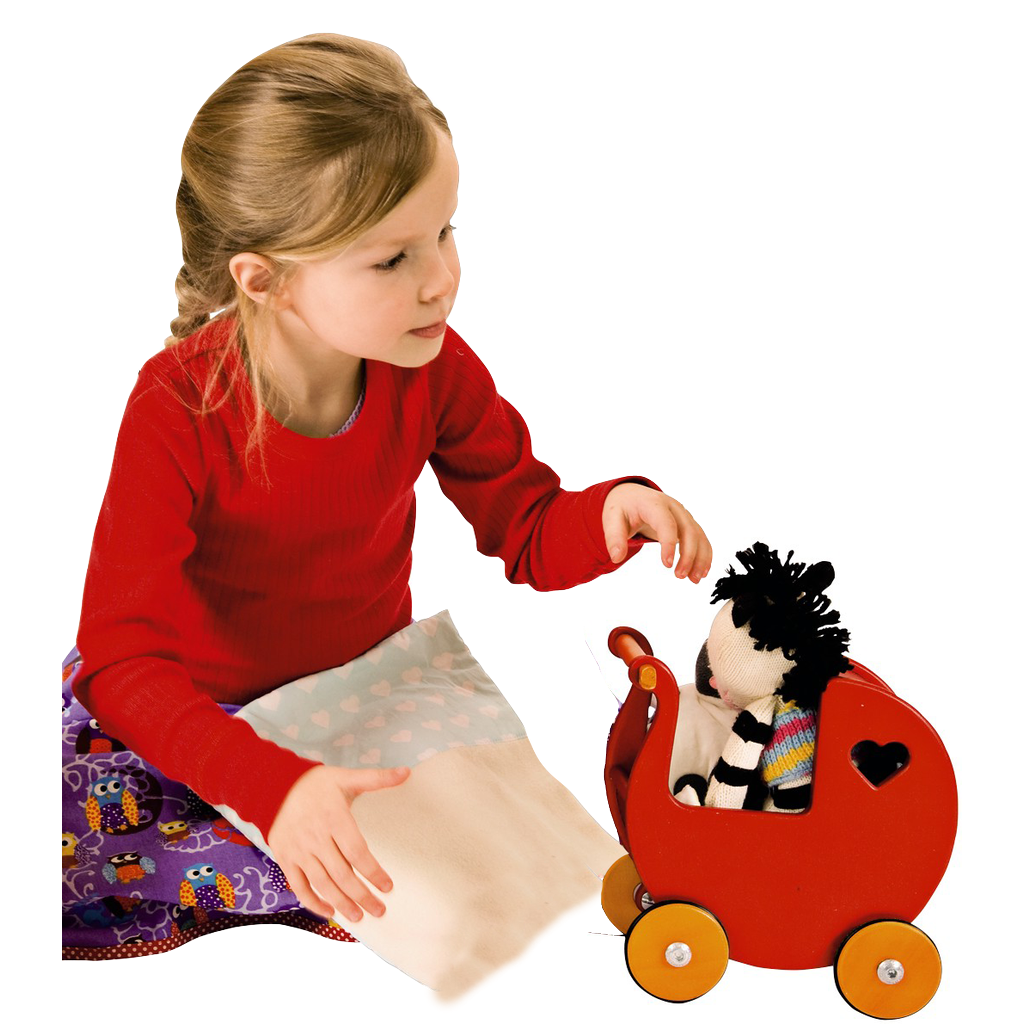 Miniature Dolls Stroller (Pram) - Red