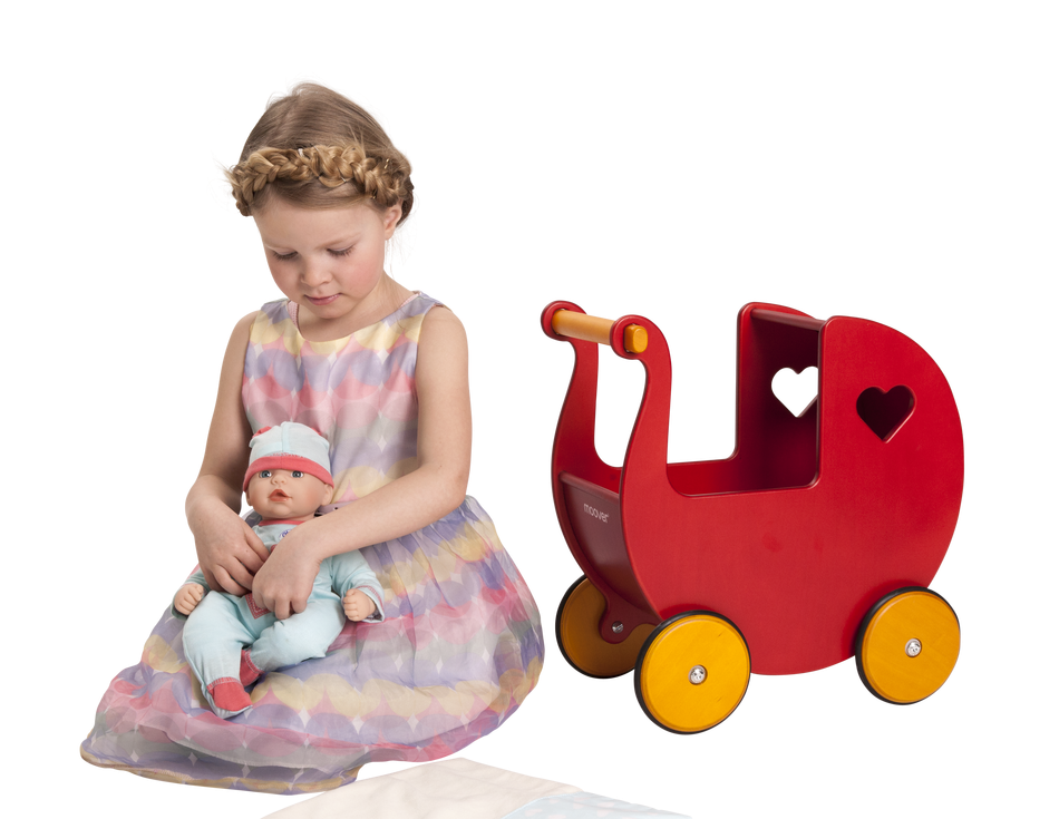 Traditional Dolls Stroller (Pram) - Red