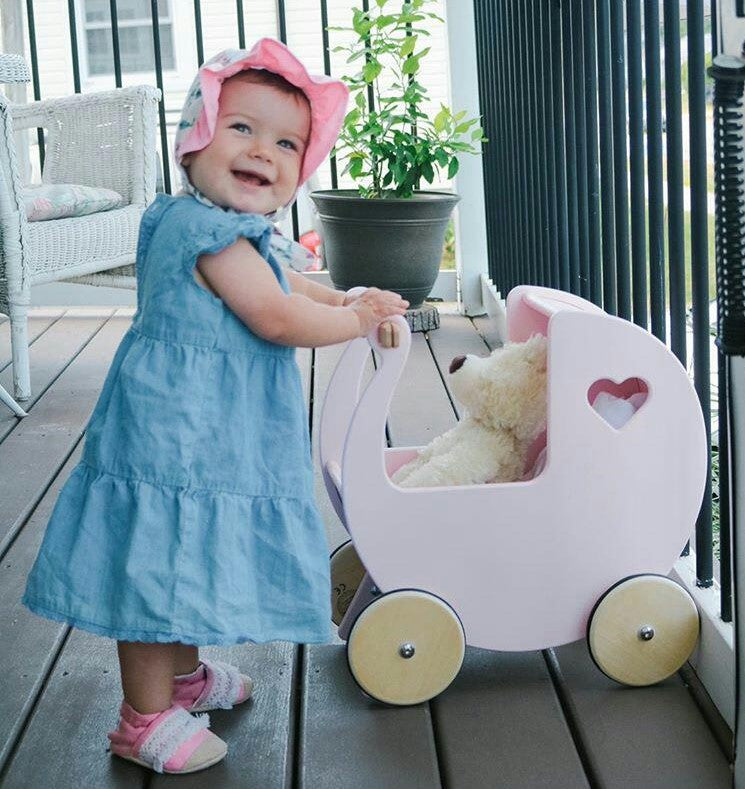 Traditional Dolls Stroller (Pram) - Light Pink