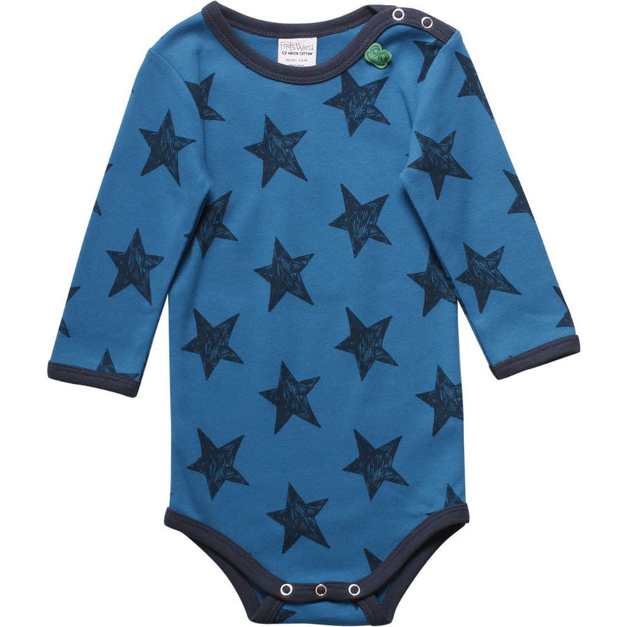 Fred's World by Green Cotton Langarmbody Sterne Dunkelblau