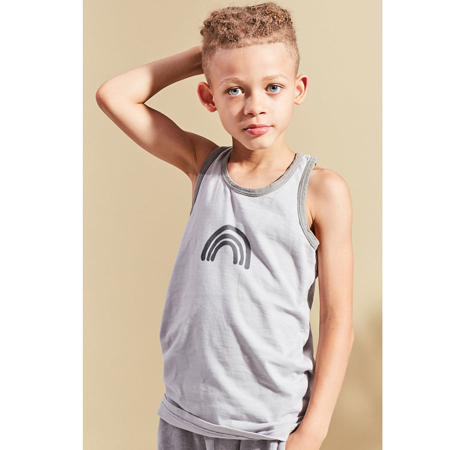 Kids on the moon Tanktop Regenbogen Grau