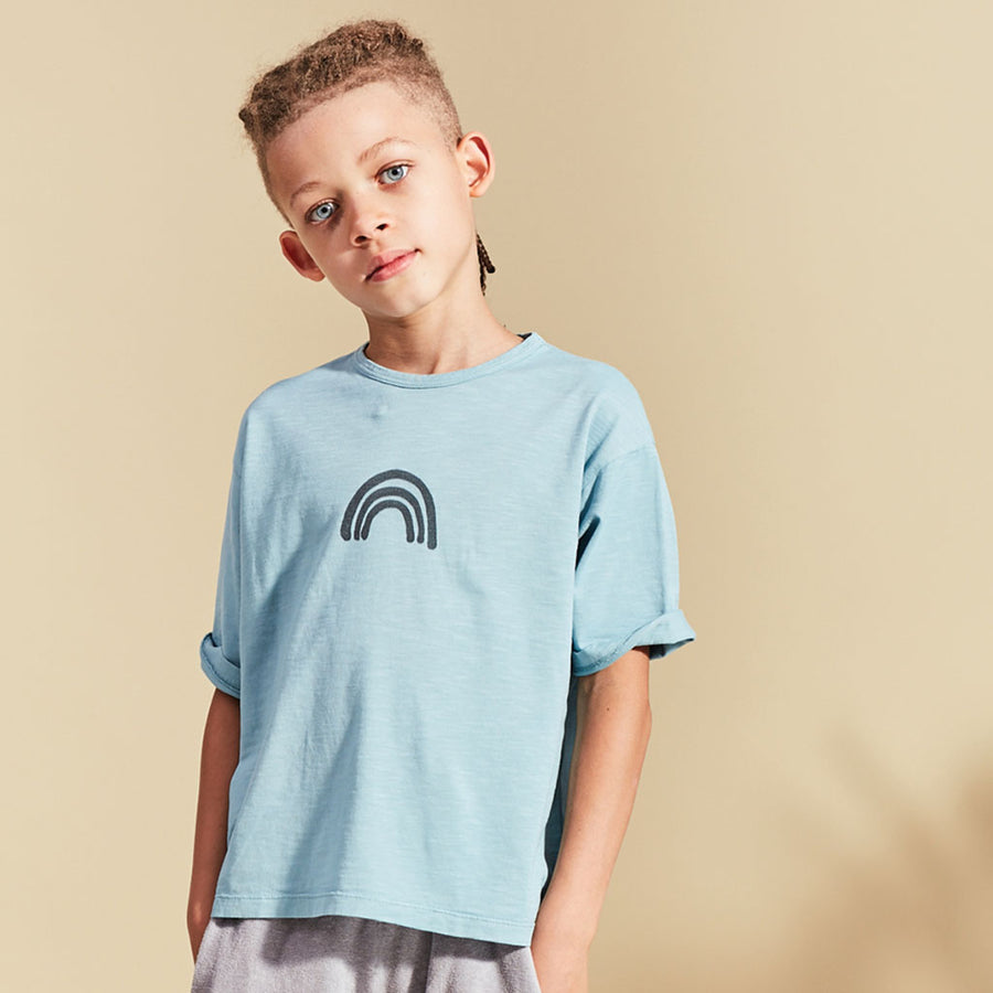 Kids on the moon T-Shirt Regenbogen Blau