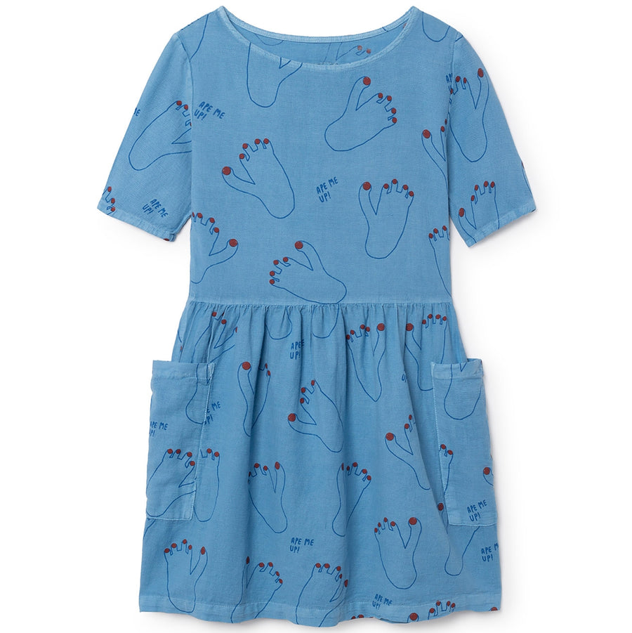 Bobo Choses Kleid Fußabdruck Blau