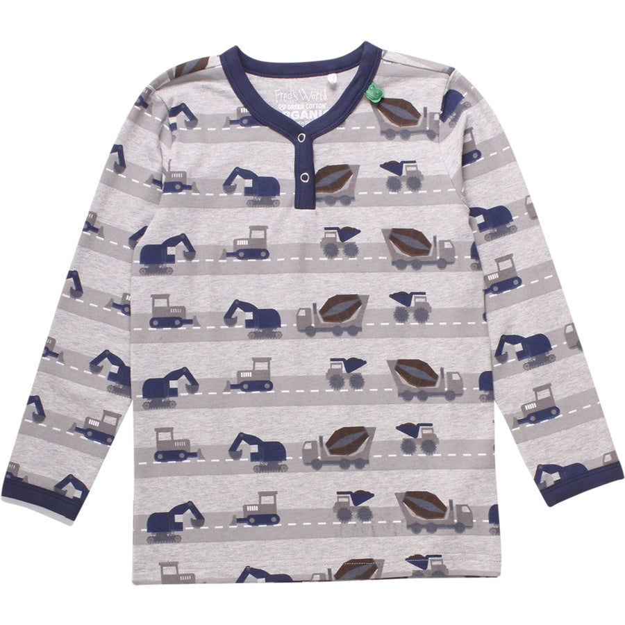 Fred's World by Green Cotton Langarmshirt Baustellenfahrzeuge Grau Junior