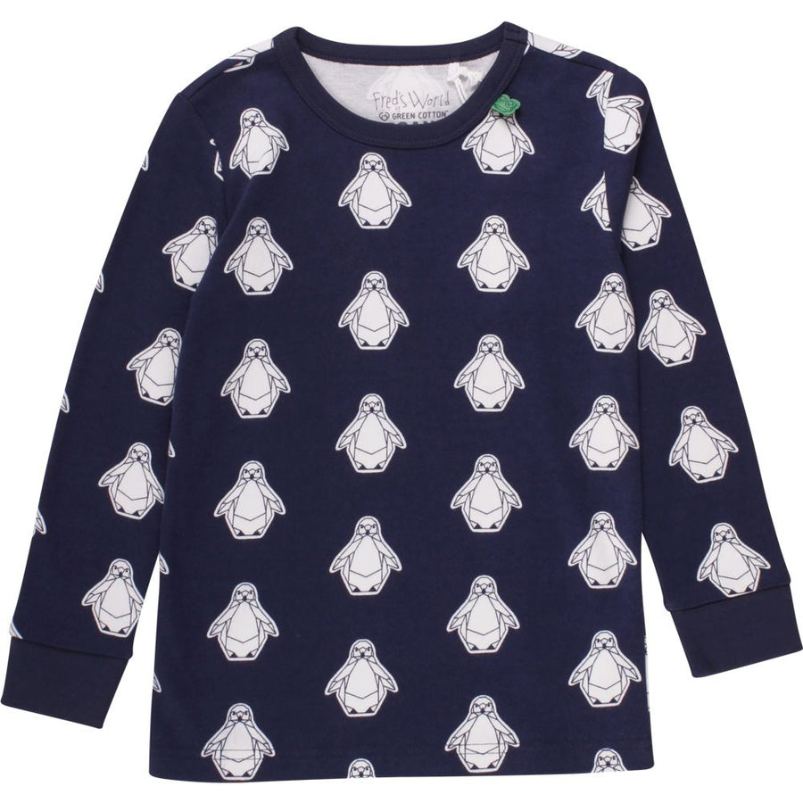 Fred's World by Green Cotton Langarmshirt Pinguin Navy Baby