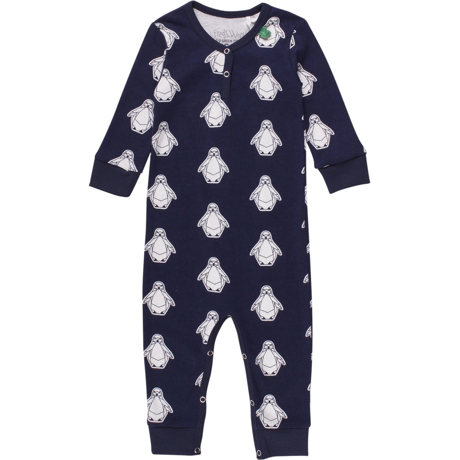 Fred's World by Green Cotton Strampler Pinguin Navy