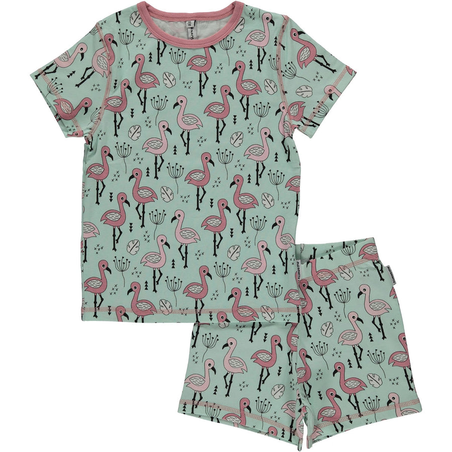 Maxomorra Pyjama Flamingo Mint