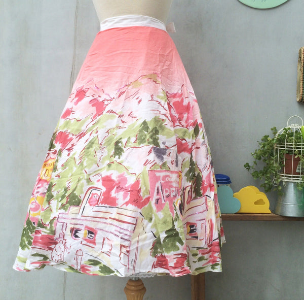 SALE | Route 01 | Vintage 1980s does 1950s Full circle swing skirt | Rockabilly french riveria print