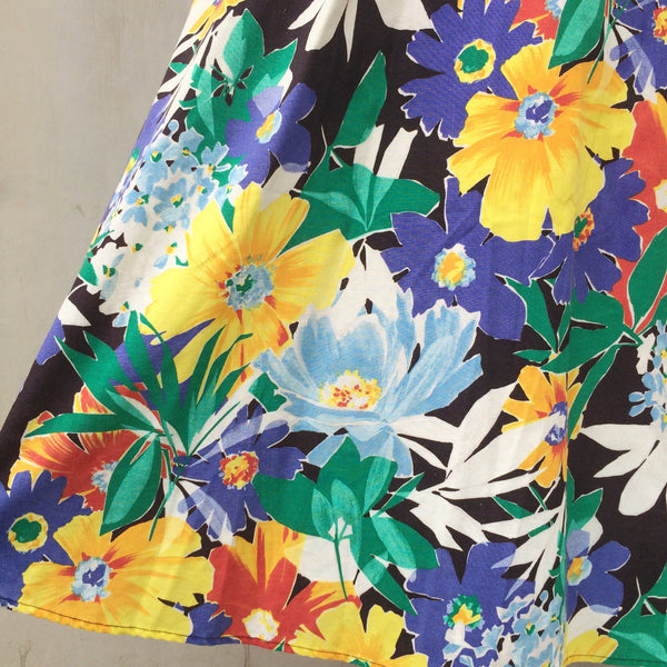 Pick a Petal | Vintage 1980s floral Tropical botanical print 100% cotton Sundress with Pockets