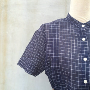 The Ride Home | Easy Japanese 1940s Mandarin Collar Navy and White Checkered Shirtwaist Dress with POCKETS