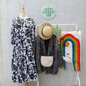 Corinne | Vintage 1980s Slouchy fit Retro Cow print Monochrome Black & White Midi Dress