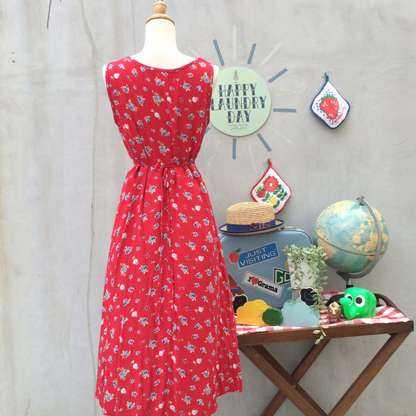 Red Hot Chilli Padi | Vintage 1990s grunge punk rock Red flocked floral tank dress