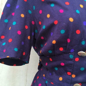 Happy Dotties | Vintage 1980s-does-1950s button down dress with Structured waist