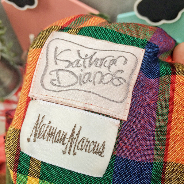 Peek-a-Plaid | Vintage Kathryn Dianos for Neiman Marcus 1980s does 1950s peekaboo back Plaid shift Wiggle dress