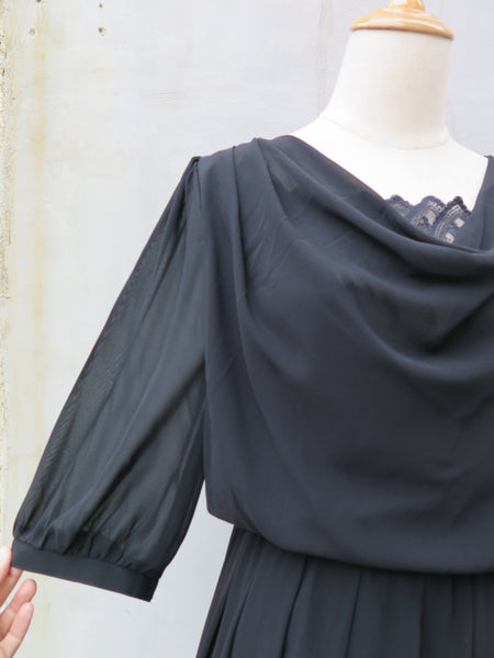 Lady Draper | Vintage 1960s 1970s Black drapery and lace Semi-formal Dress