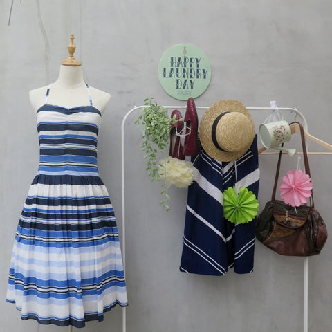 Blue Kite | Vintage 1980s 1990s Striped Blue Nautical strapless Summer Dress