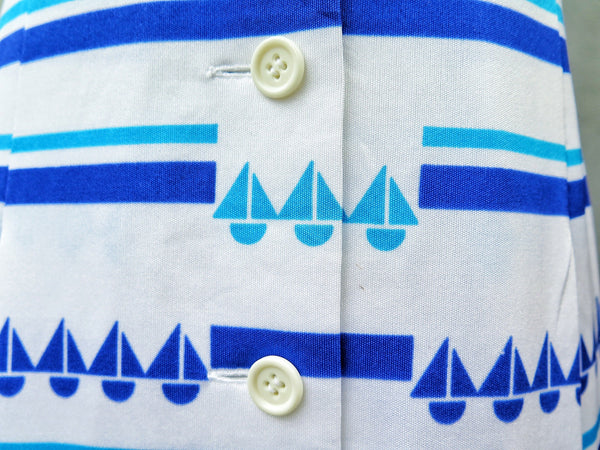 Must Have! | Blue is ... | Vintage 1960s 1970s Nautical sailboat print Blue and white Fit-and-flare Dress