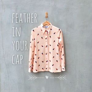 SALE | Feather in your cap | Retro feather print Vintage 60s