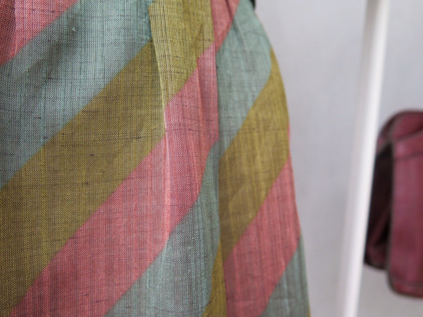 French Carousel | Vintage 1960s Tri-color Muted pastels Day Dress