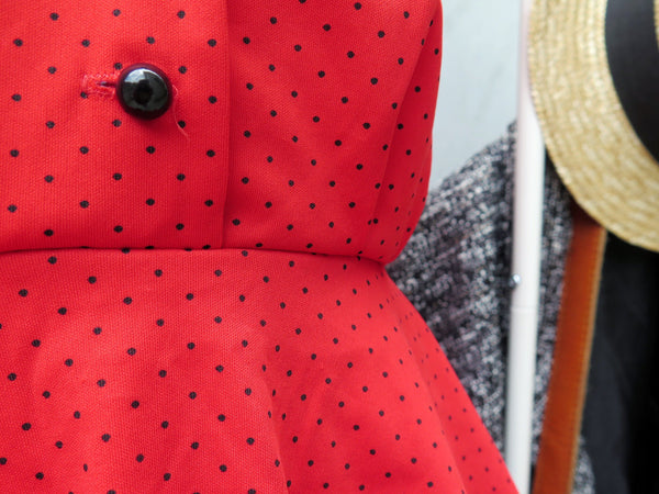 Bloody Mary Cranberry | Vintage 1980s-does-1940s Polka dot Peplum Red Midi Dress