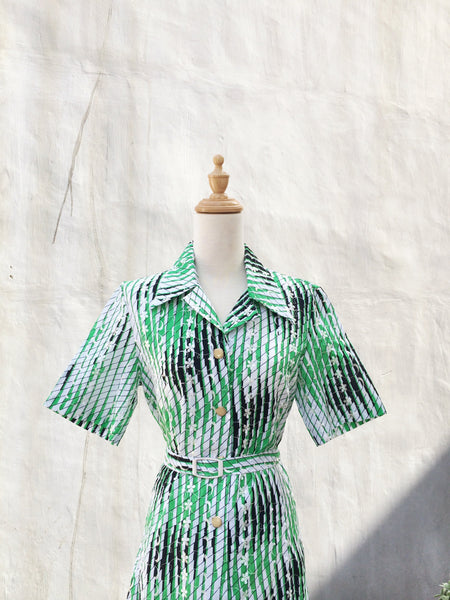 Preen Green | Neon green VIntage 1970s lace overlay striped Day dress