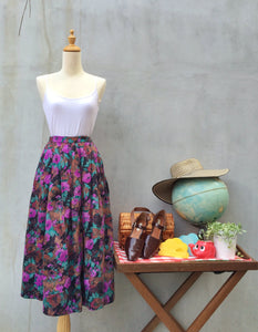 Party Girl! Rare Vintage 100% Cotton 1950s Elegant dinner Full Midi skirt WITH POCKETS!