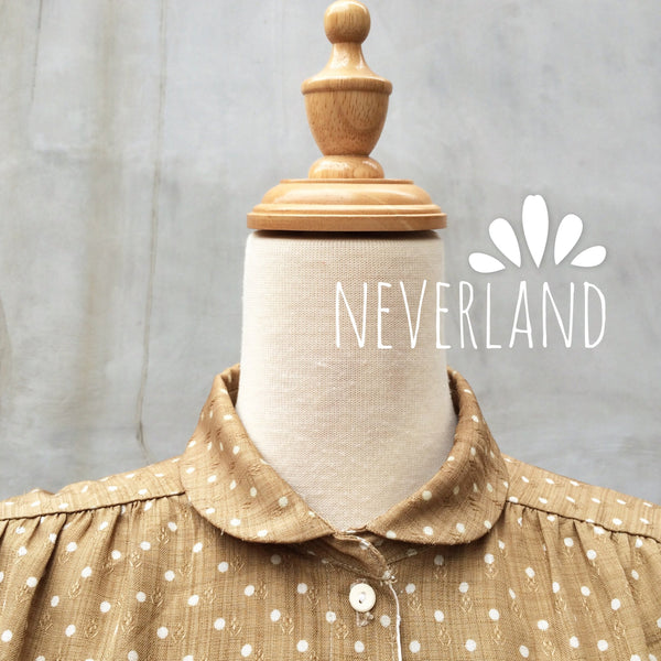 Neverland | Vintage 1960s peter pan Light tan polka dots Wheat print pleated dress