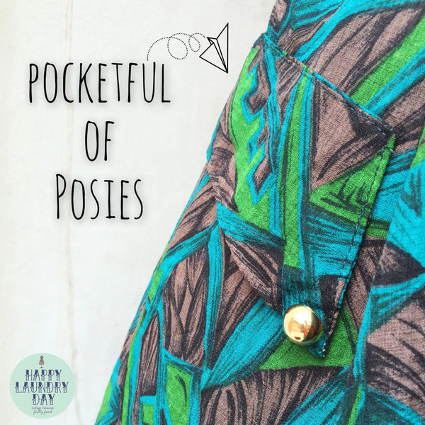 Pocketful of Posies | Vintage 1980s gold button Geometric Mosaic Midi skirt