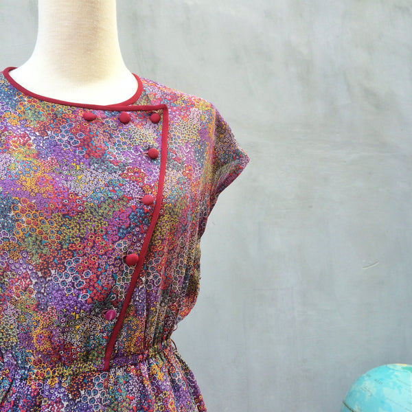 Coral Reef dress | Vintage 70s floral marine aquarium print zigzag buttons Dress