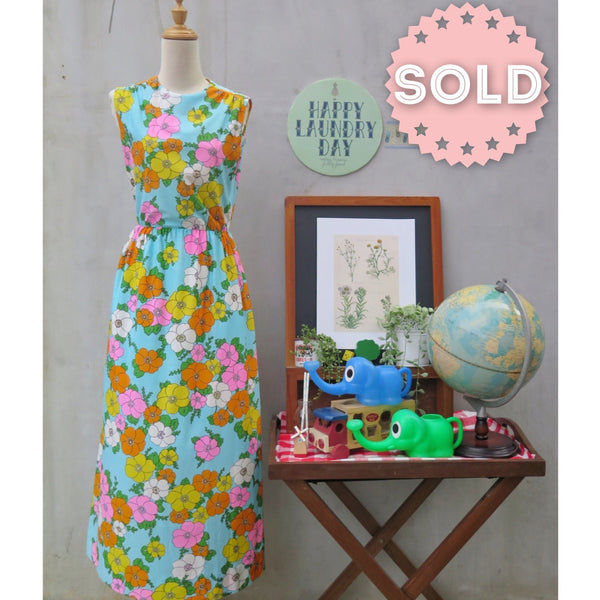 California Dreamin' | Vintage 1960s 1970s Retro Mod Flower Power NEON floral print Maxi Dress with Pockets