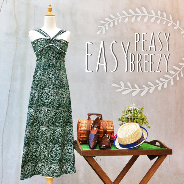 SALE | Easy Peasy Breezy | Rare Vintage 70s bandeau Hamptons Maxi Dress