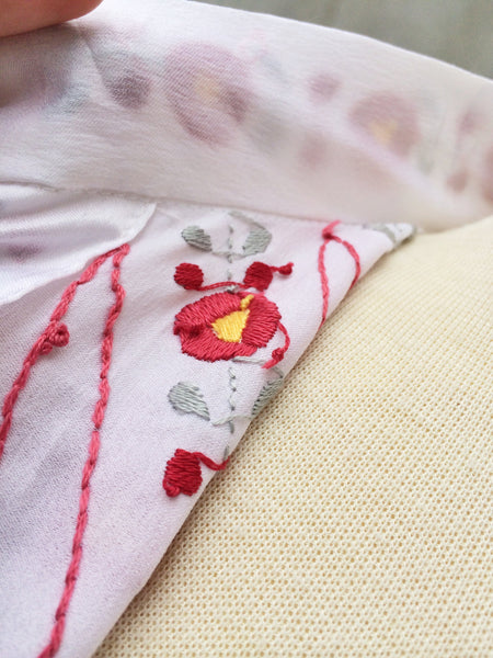 Replay Red | Hand embroidered white Satin Vintage 1960s Mandarin collarshirt