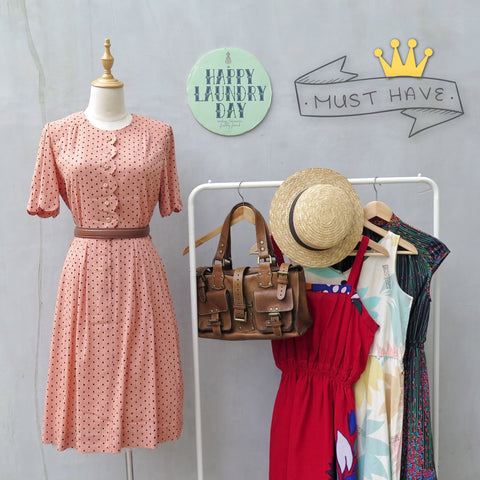 MUST HAVE! | Pearl Jam Ma'am | Vintage 1950s 1960s Scalloped hems Peach pink and black polka dots Slim Fit Dress