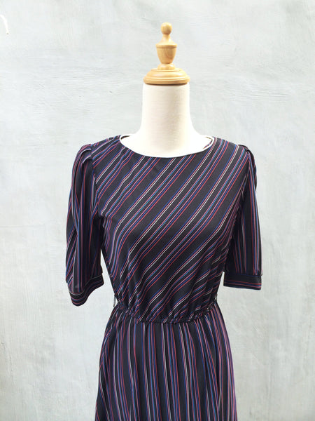 Candy Striper | Liqourice Spice & everything nice Vintage 1970s diagonal stripe day dress Pink Blue stripes