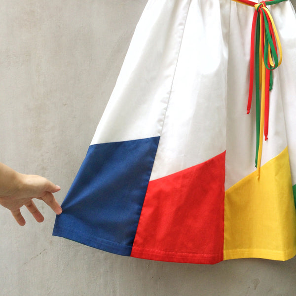 Primary Crayons | Vintage 1970s 1980s colour block Blue Yellow Red Green geometric White Summer Skirt