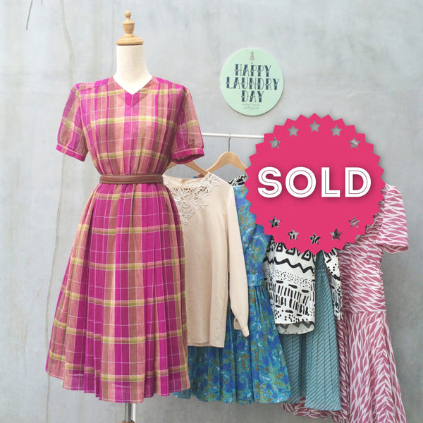 Pink Poms Pops | 1950s vintage Flared skirt purple pink and hues of yellows + green V-neck Tea Dress
