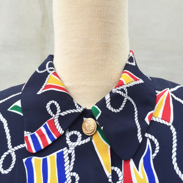 Summer Sailing | Vintage 1980s Talbots petites Nautical theme Flag + Rope Navy blue button-down dress with Matching belt