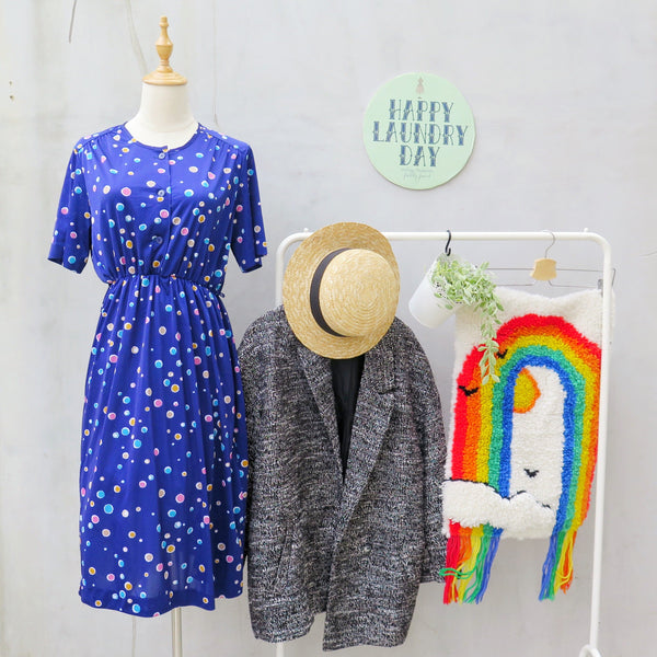 Soda pop | Vintage 1960s 1970s Blue and pink bubblegum polka dots Cute Dress
