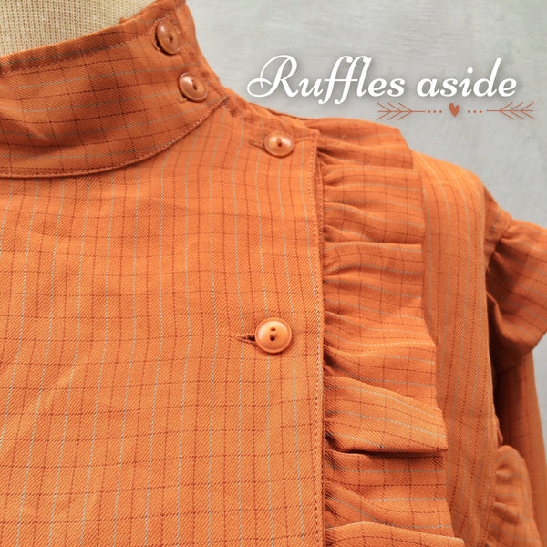 SALE ! |  Ruffles Aside | Rust brown fall colors Japanese Vintage 1960s ruffles double-breasted Blouse