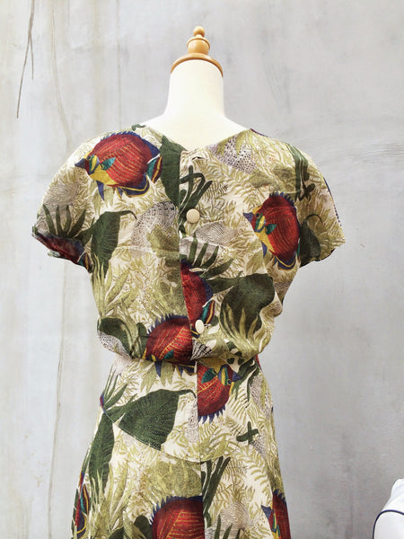 Just keep Swimming | 80s vintage tropical flirty summer dress
