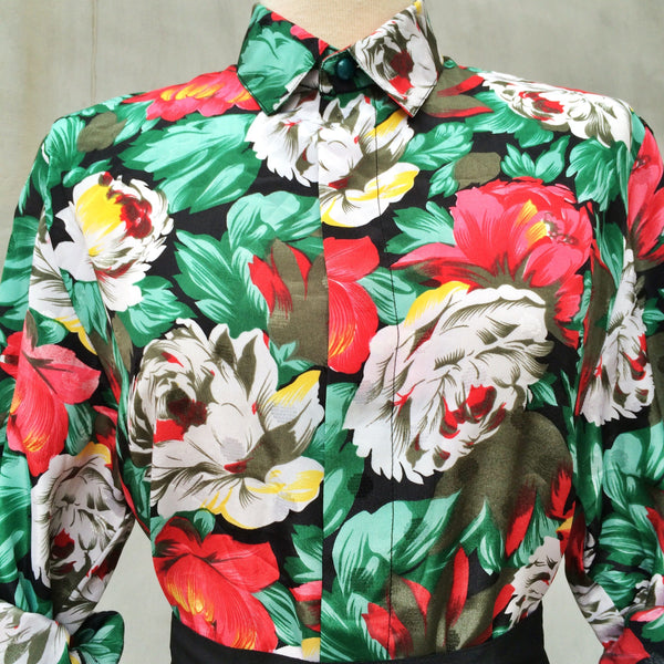 Equatorial Summer | Vintage 1980s does 1940s flowy sleeves Big Bold Floral Print Blouse